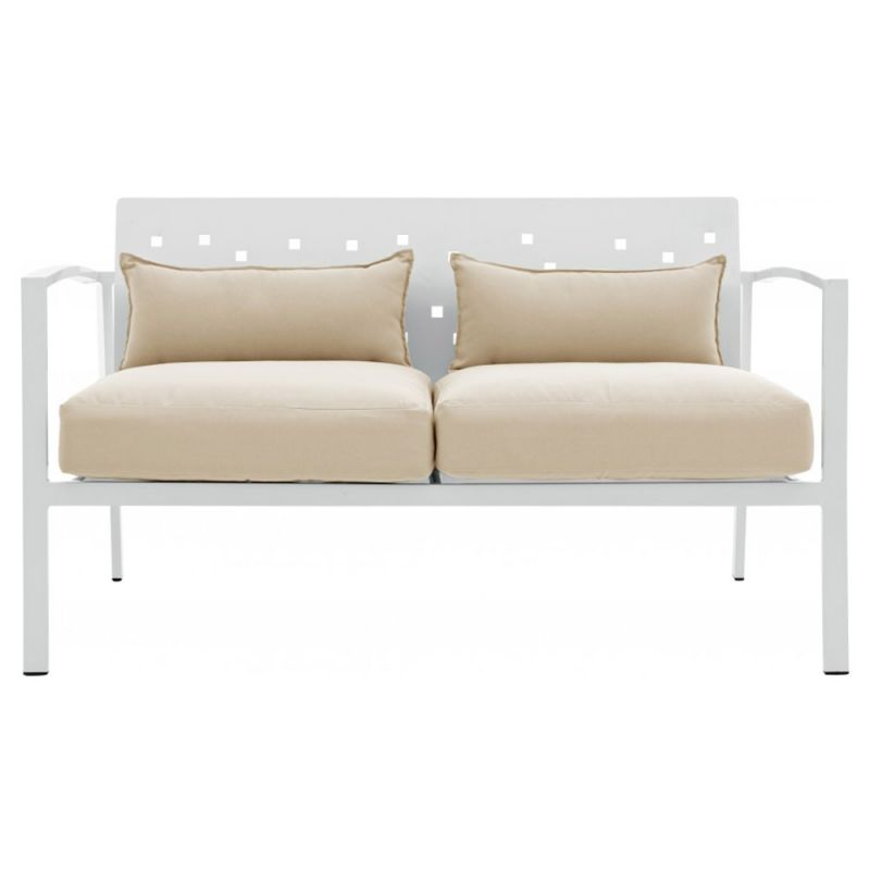 Canap d 39 ext rieur 2 places 130cm aluminium blanc et for Coussin canape exterieur