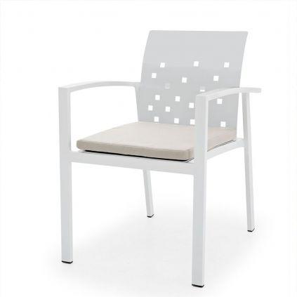 Fauteuil table de jardin aluminium blanc MONACO 56cm