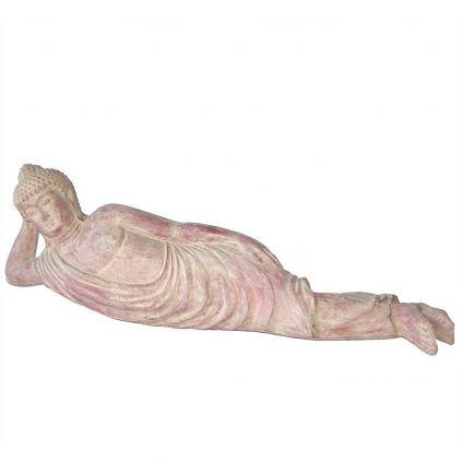 Statue bouddha allongé GRC BUDDHA 100cm terra cota