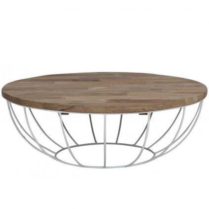 Table basse teck et métal HOME SOLUTIONS Ø100cm ronde