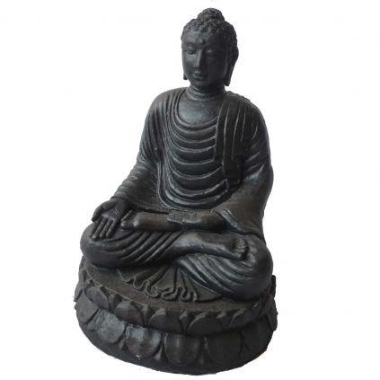 Statue bouddha lotus GRC noir mat BUDDHA h55cm