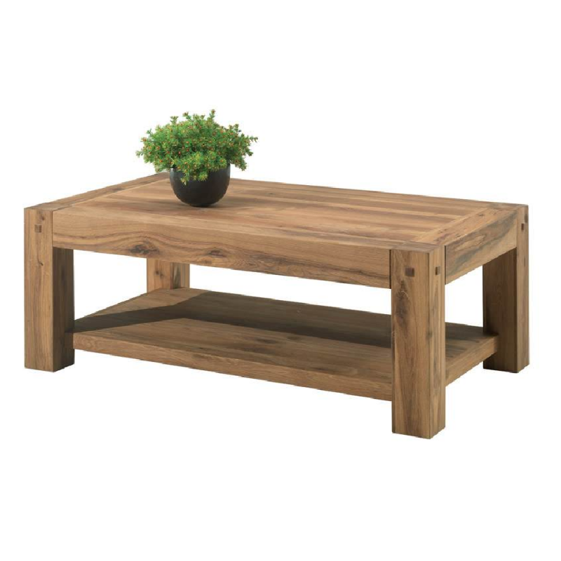 Table basse chene huil double plateau rectangulaire 120cm for Entretien table chene huile