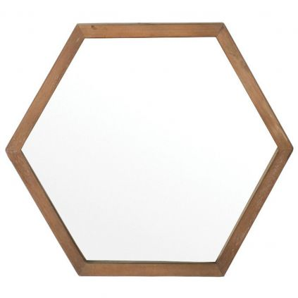 Miroir teck recyclé HOME SOLUTIONS 50cm hexagonal