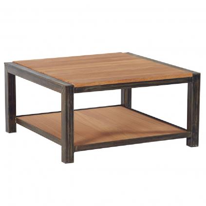 Table basse chêne et métal LOFT carrée 80cm