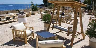mobilier de plage en branches de teck la guerite canes