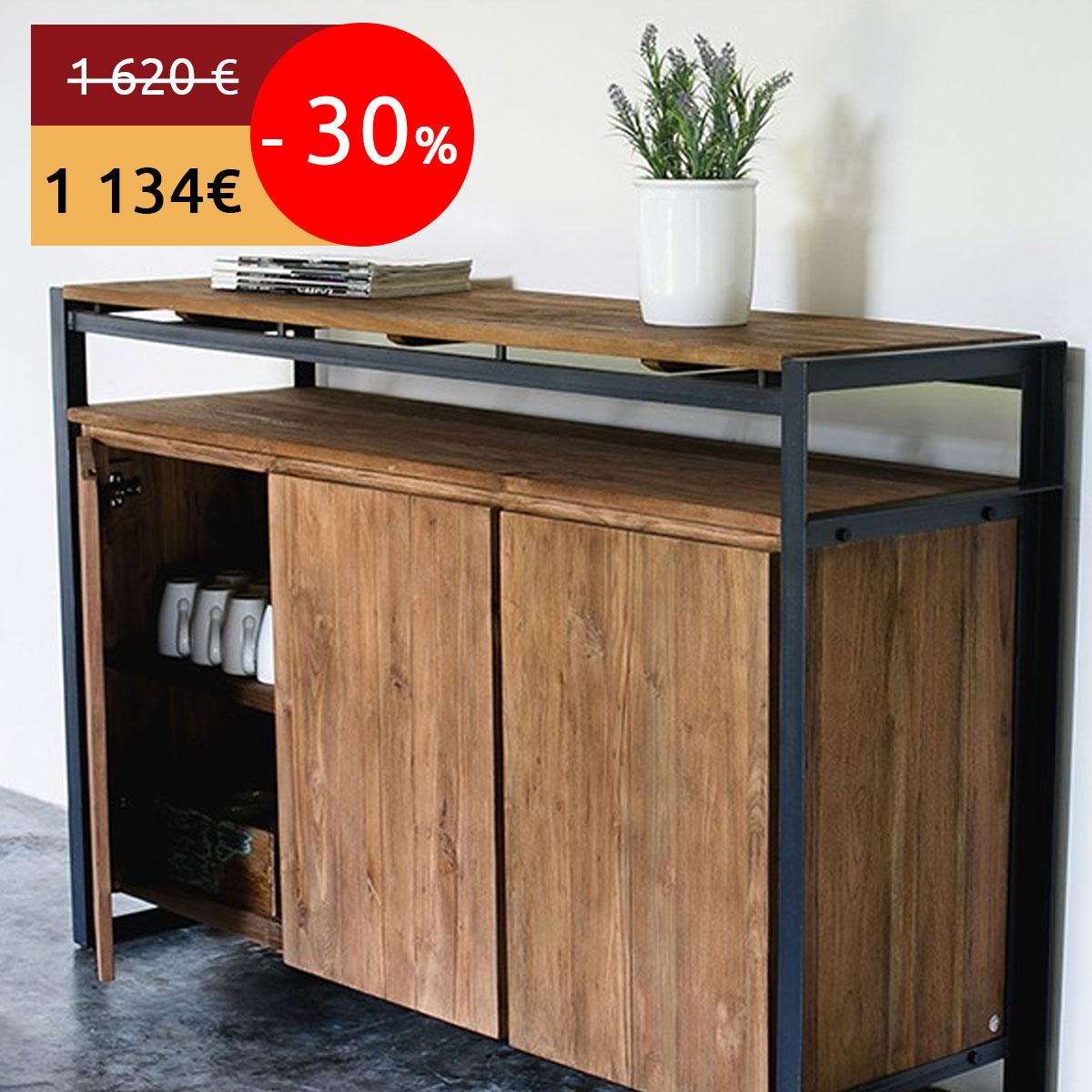 Actu Bons Plans 30 Sur Une S L Ction De Meubles En Teck Recycl S  # Meuble Buffet Industriel