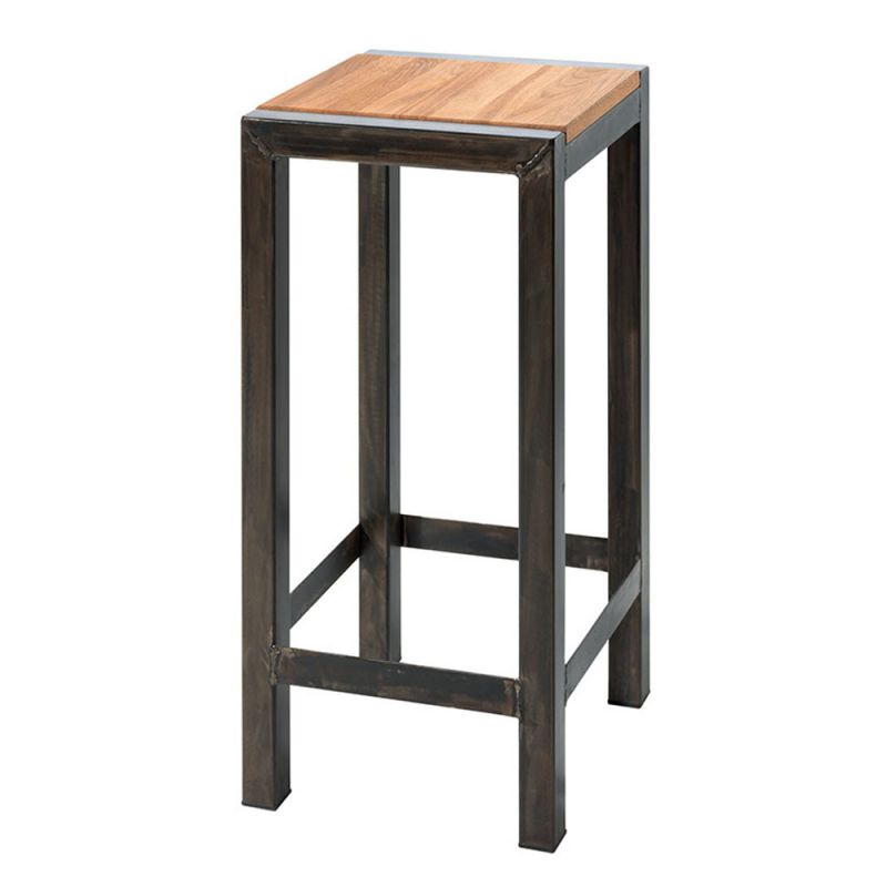 tabouret bar industriel loft ch ne massif et m tal. Black Bedroom Furniture Sets. Home Design Ideas
