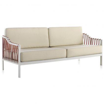 Canapé de jardin 3 places aluminium blanc MONACO 198cm