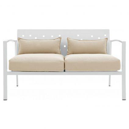 Canapé de jardin 2 places aluminium blanc MONACO 130cm