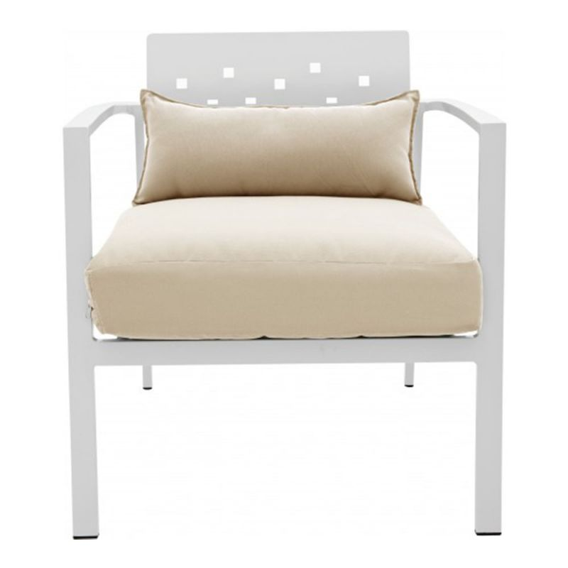 fauteuil de jardin alu blanc assise large et coussin beige 65cm. Black Bedroom Furniture Sets. Home Design Ideas