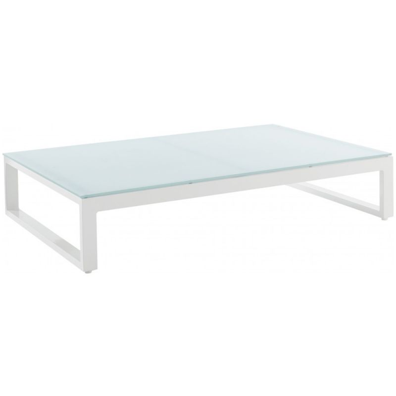 Table basse exterieur design en aluminium et verre 128cm for Table exterieur en aluminium
