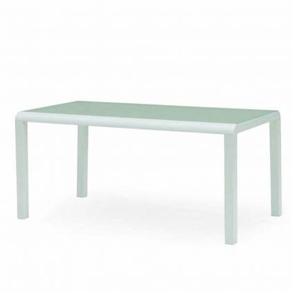 Table de repas aluminium blanc et verre MONACO 160cm