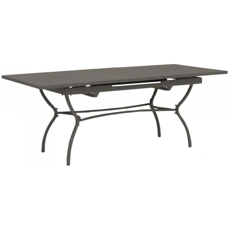 table jardin s jour fer forg gris avec rallonges 150 200cm. Black Bedroom Furniture Sets. Home Design Ideas