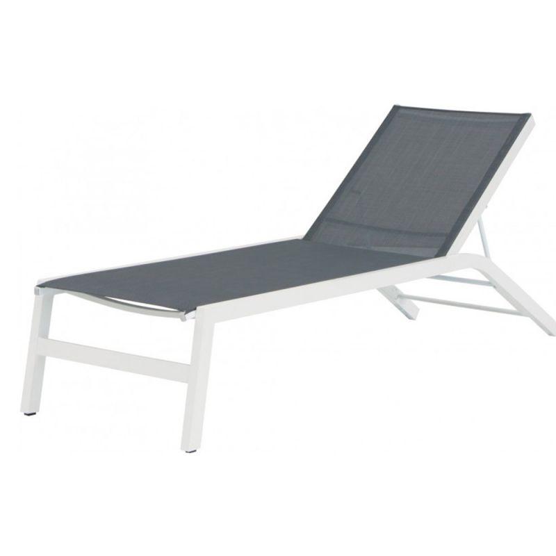 Chaise Longue Aluminium Design Blanc Et Textilne Gris 180cm