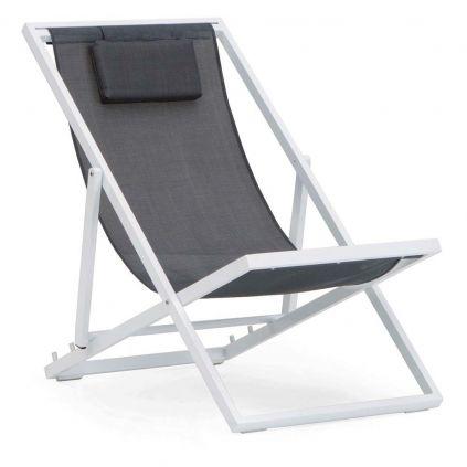 Chaise longue aluminium blanc et textilène gris MONACO 123cm