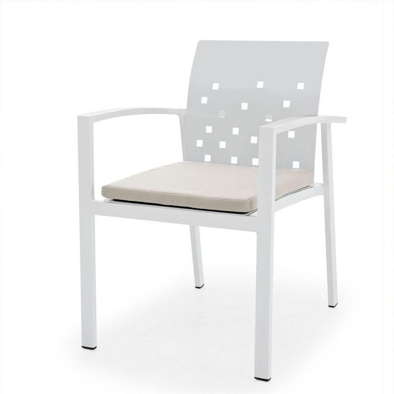fauteuil de jardin alu blanc design 56cm. Black Bedroom Furniture Sets. Home Design Ideas