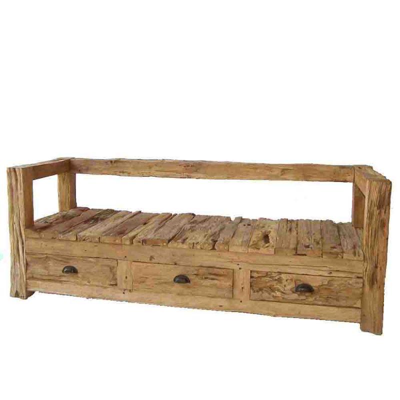 banquette bois exterieur teck recycl brut rustic 3 tiroirs. Black Bedroom Furniture Sets. Home Design Ideas