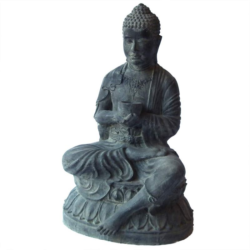 bouddha deco exterieur statue assise noire h80cm avec bol. Black Bedroom Furniture Sets. Home Design Ideas