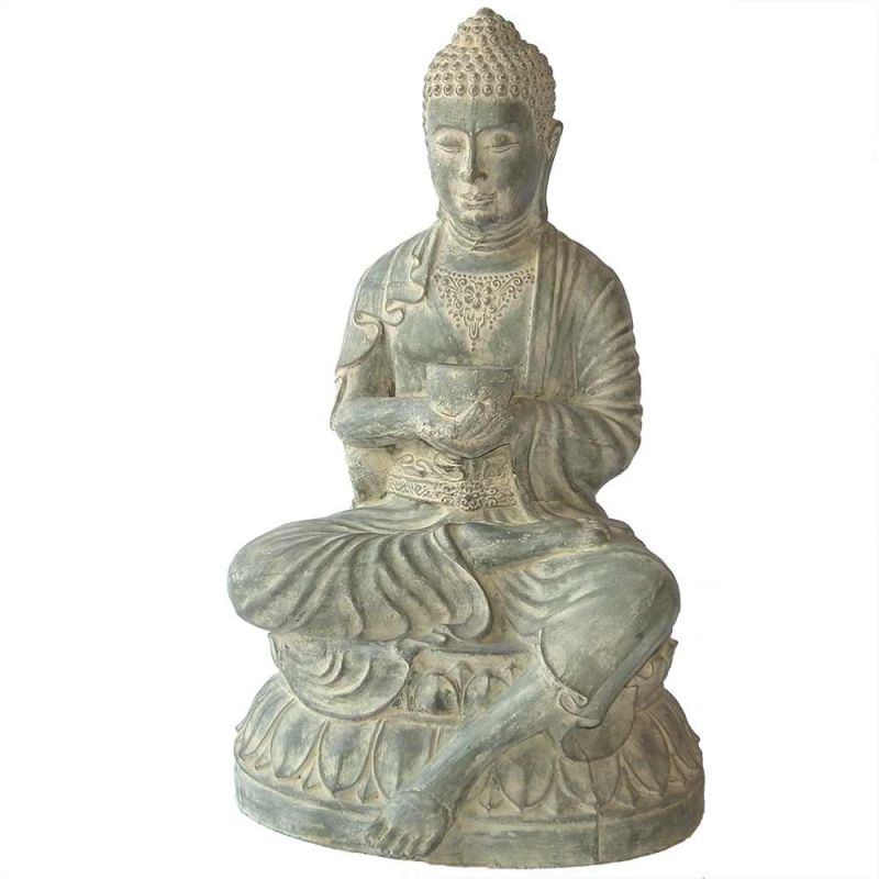 bouddha deco exterieur statue verte assise avec bol h80cm. Black Bedroom Furniture Sets. Home Design Ideas