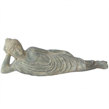 Statue bouddha allongé 100cm BUDDHA GRC noir usé