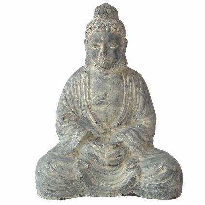 Statue bouddha lotus h80cm BUDDHA GRC noir