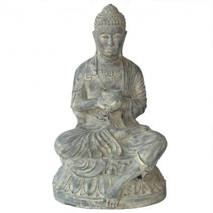 Statue bouddha bol GRC noir usé BUDDHA h80cm