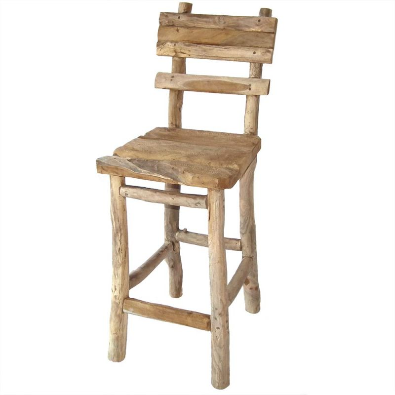 Chaise haute bar bois en teck recycl brut for Meuble bar exterieur teck