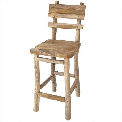 Chaise de bar teck recyclé RUSTIC 47cm