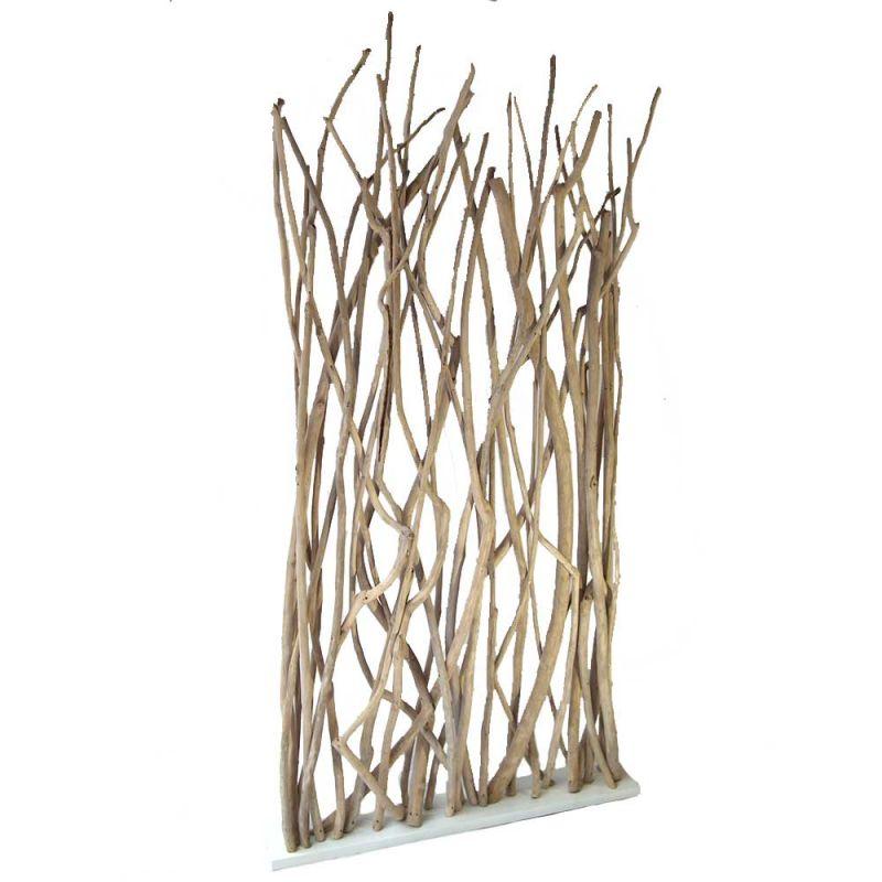 paravent branche bois de teck 120cm blanc. Black Bedroom Furniture Sets. Home Design Ideas