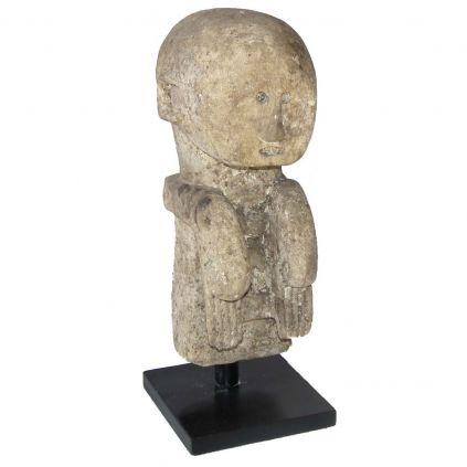 Statuette ancienne en pierre TRIBAL h50cm sur socle