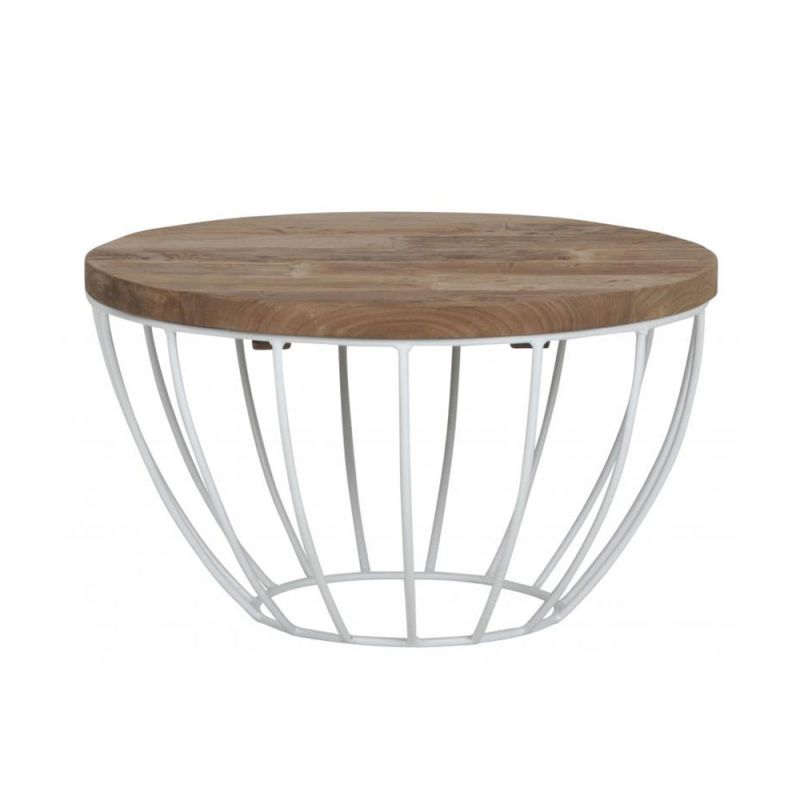 Table basse pied metal plateau teck massif recycl 60cm - Table basse ronde metal ...