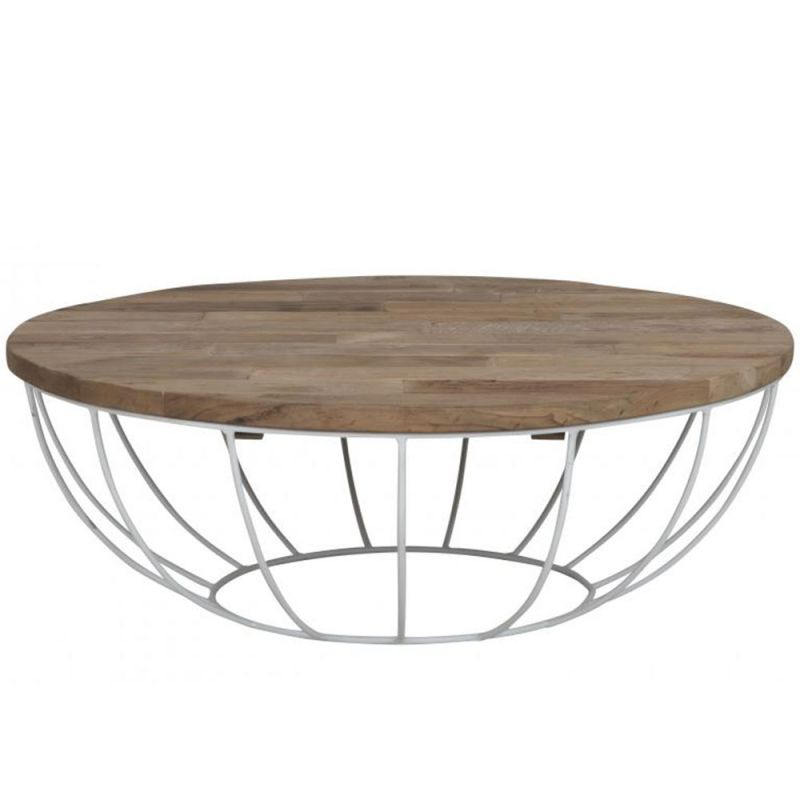 Table basse pied metal plateau teck massif recycl 100cm - Table ronde pied metal ...