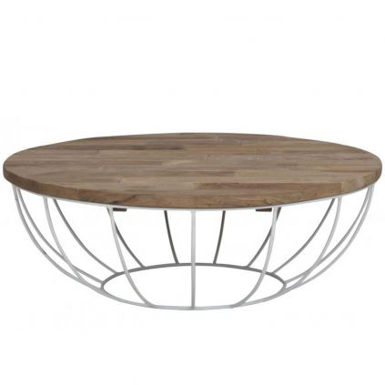 Table basse teck et métal HOME SOLUTION Ø100cm ronde