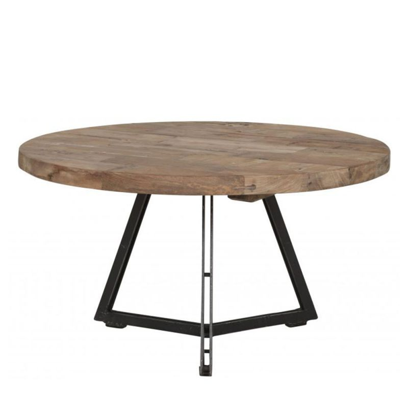 Table basse pied metal plateau teck massif recycl ronde 65cm - Table a repasser large plateau ...