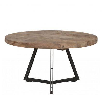 Table basse teck et métal HOME SOLUTIONS Ø65cm ronde