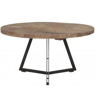 Table basse teck et métal Ø75cm HOME SOLUTIONS ronde