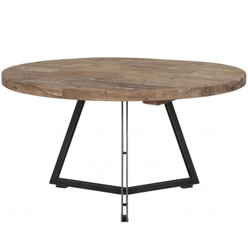 table basse teck et mtal home solutions 75cm ronde
