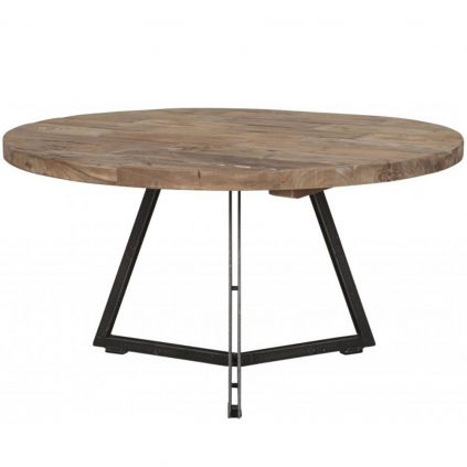 Table basse teck et métal Ø75cm HOME ronde