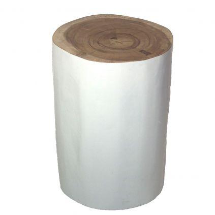 Tabouret suar massif peint blanc SAMANEA Ø35cm