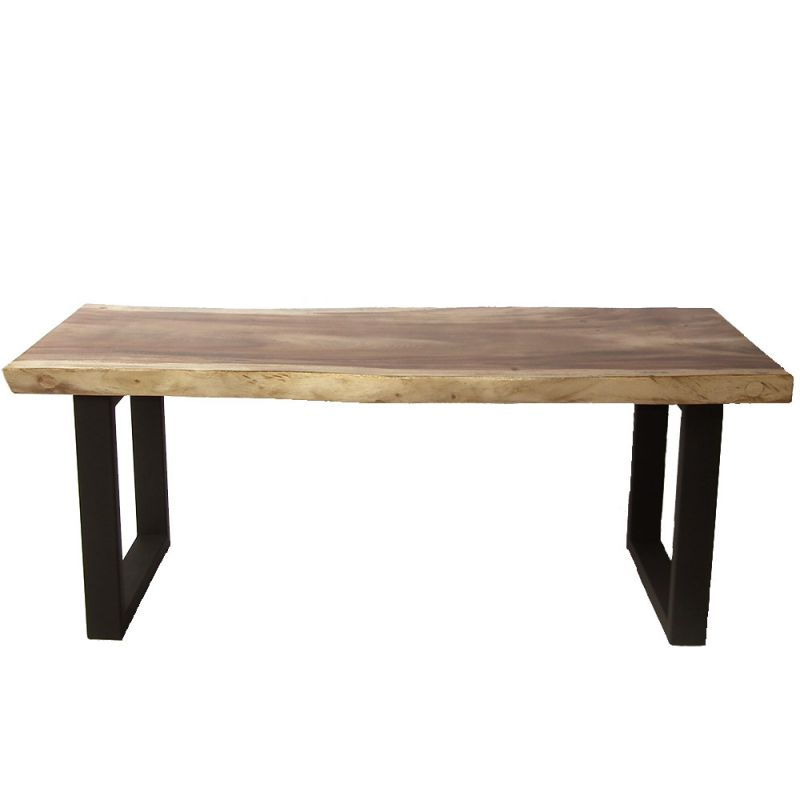 Table design bois de suar massif pieds noir mat en u 200cm for Table bois metal design