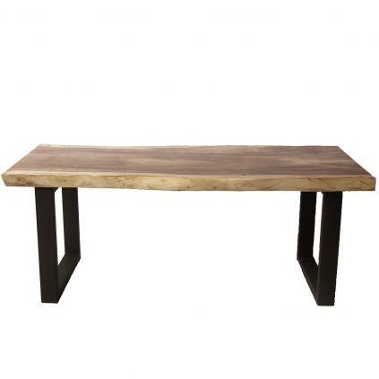 Table suar massif pieds métal noir SAMANEA 200cm