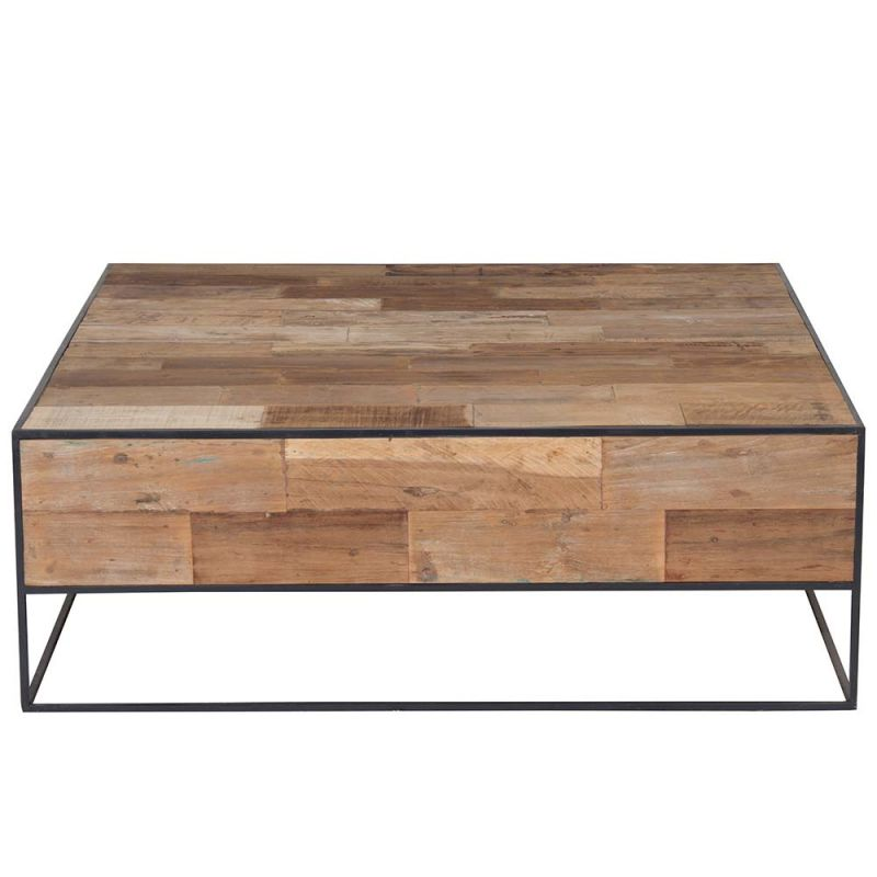 table basse carr e industrielle 80cm en teck et m tal recycl s urban. Black Bedroom Furniture Sets. Home Design Ideas