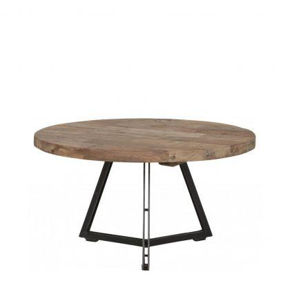 Table basse teck et métal Ø55cm HOME ronde
