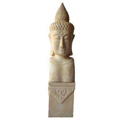 Statue tête bouddha h230cm BUDDHA sur socle GRC