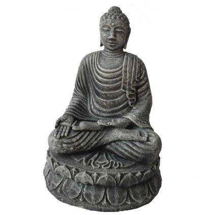 Statue bouddha lotus h55cm BUDDHA GRC noir usé