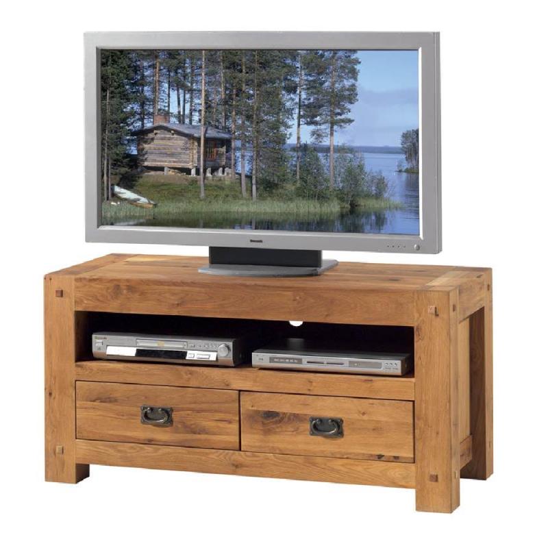 Meuble tv chene massif huil longueur 120cm for Meuble tv suspendu 120 cm
