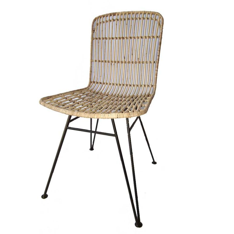 Chaise En Rotin Naturel Pieds Metal RATTAN