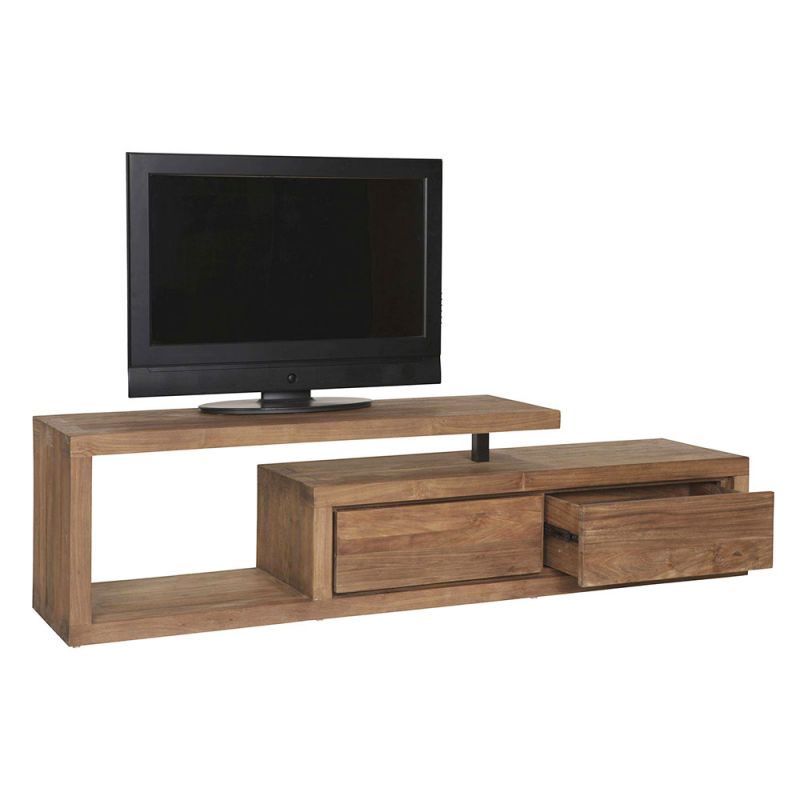 meuble tv teck design contemporain 175cm fissure. Black Bedroom Furniture Sets. Home Design Ideas