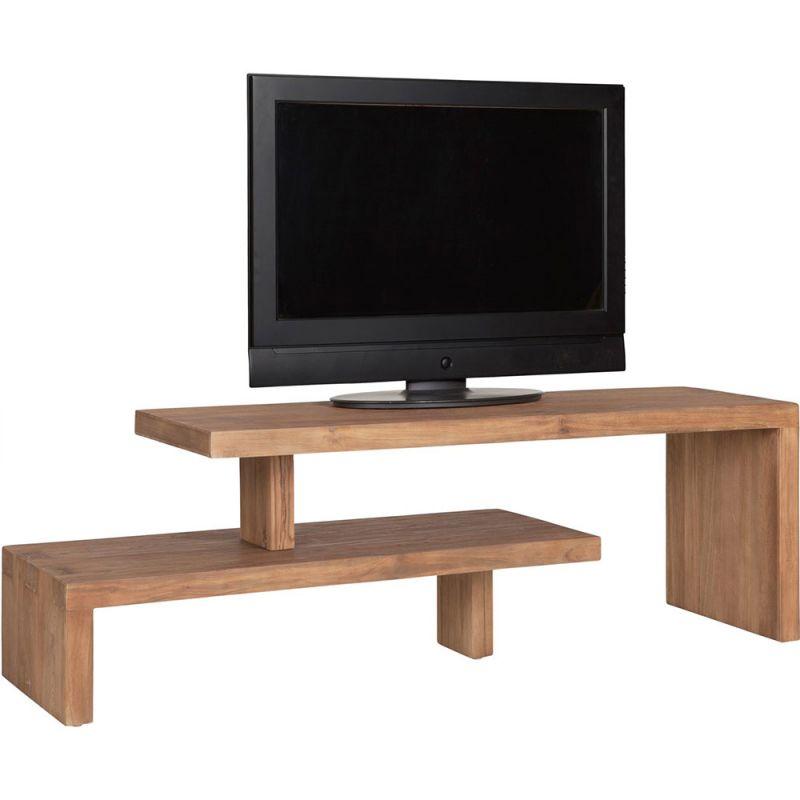 Meuble Tv Teck Recyclé Extensible Et Design 120Cm Fissure