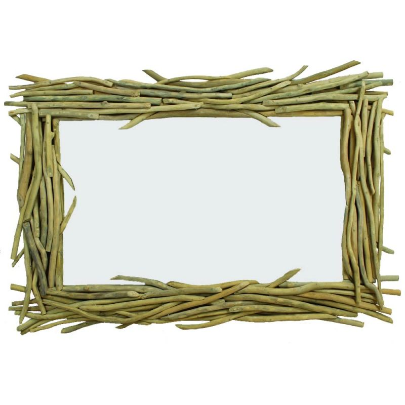 Miroir bois flott branche de teck rectangulaire 3 tailles for Meuble bois flotte